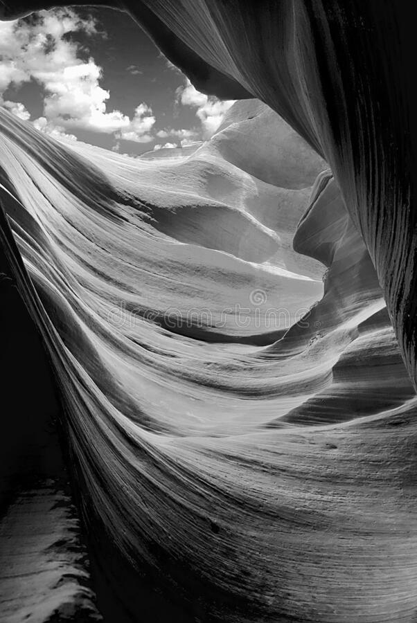 Antelope Canyon in the Navajo Reservation in the style black and white royalty free stock photos