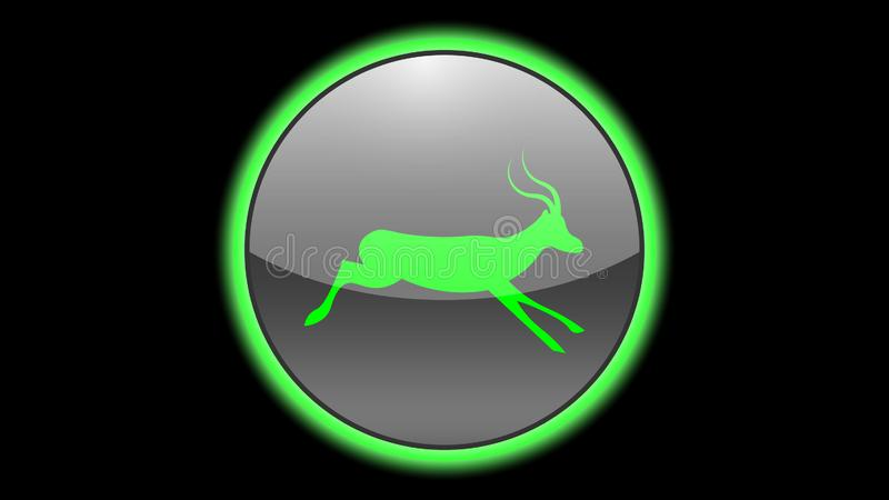 Antelope icon vector design. Green neon icons with animals. Animals icons vector stock illustration