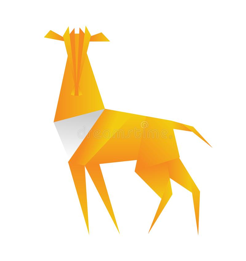 Antelope origami in polygonal style. Triangle vector illustration of animal for use as a print on t-shirt and poster. Geometric low poly antelope design. Flat royalty free illustration