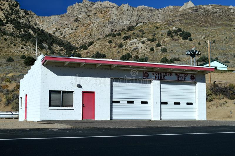 ANTELOPE VALLEY VOLUNTEER FIRE DEPARTMENT. The Antelope Valley Volunteer Fire Department of Mono County California`s firehouse stock photo
