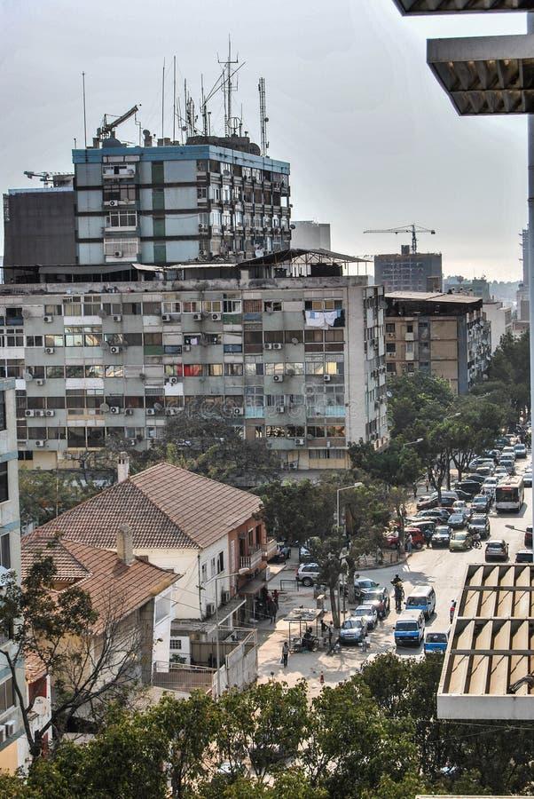 Antena Angola stolicy Luanda ruchliwe ulicy fotografia stock