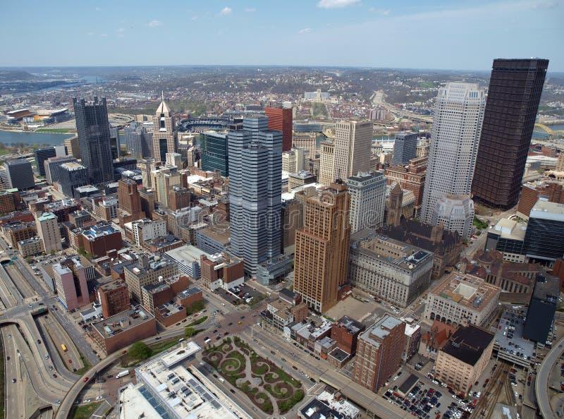 Antena céntrica de Pittsburgh fotos de archivo libres de regalías
