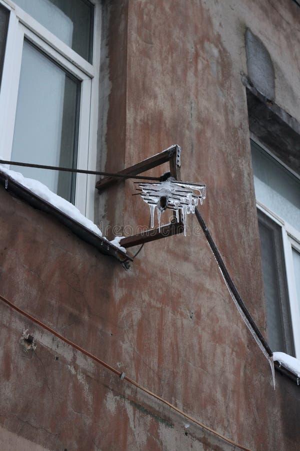 Antena coberta pelo gelo fotografia de stock