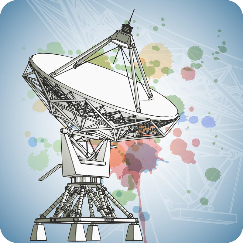 Antena d'antennes paraboliques - radar Doppler illustration stock