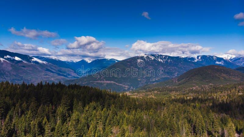 A antena da floresta e da neve tampou montanhas em um dia de mola agradável foto de stock