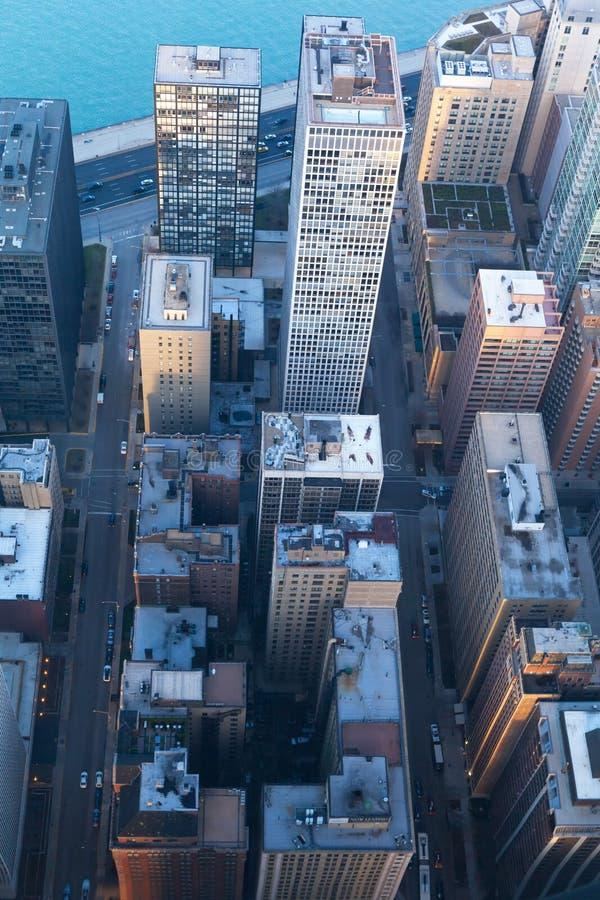 Antena da opinião do centro de Chicago da parte superior foto de stock