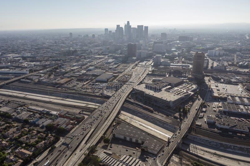 Antena da poluição atmosférica do verão de Los Angeles imagem de stock royalty free