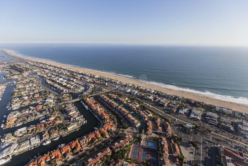 Antena da praia do por do sol em Califórnia do sul fotos de stock