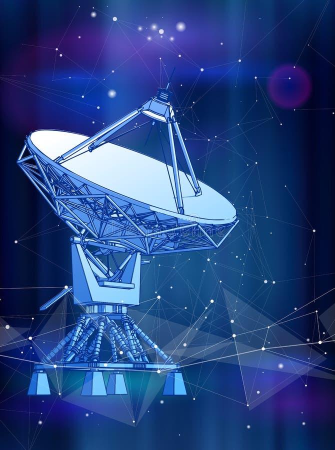 Antena de antenas parabólicas - radar Doppler, onda digital ilustração royalty free