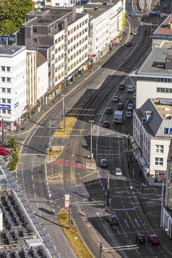 Antena de Bonn, la capital anterior de Alemania con Main Street a fotos de archivo libres de regalías