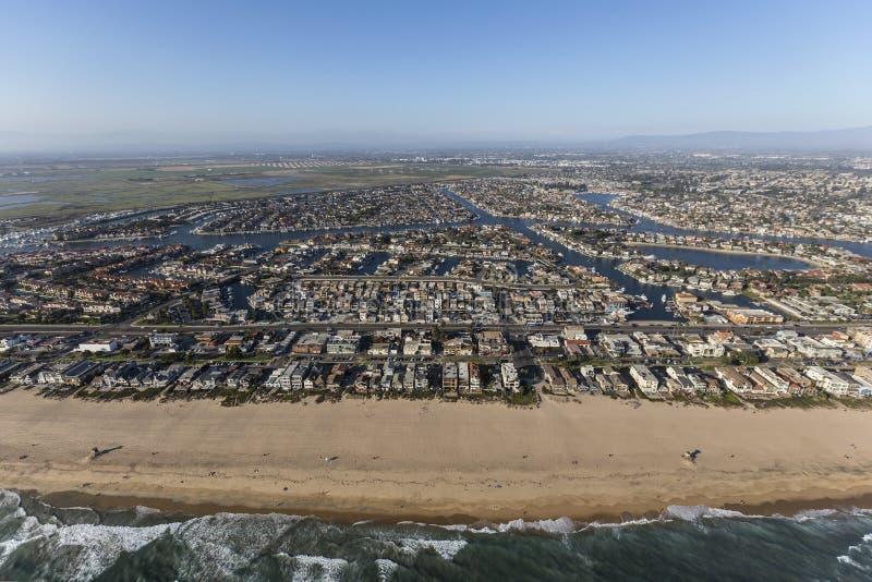 Antena de Califórnia do sul da praia do por do sol imagem de stock