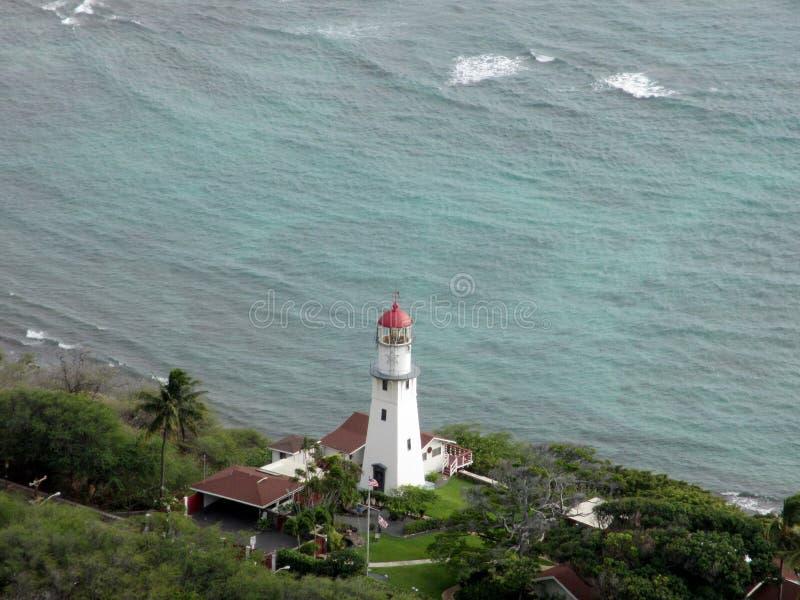 Antena de Diamond Head Lighthouse fotografia de stock
