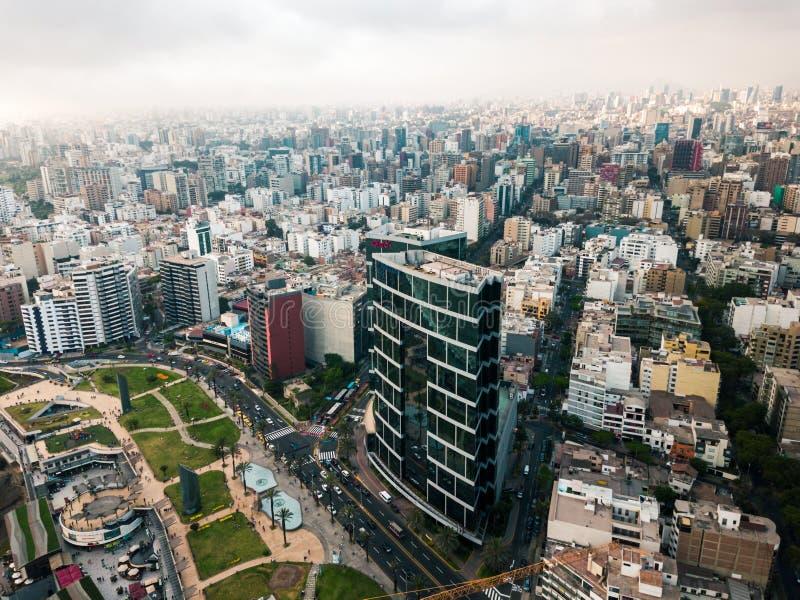 antena de edificios de Miraflores céntrico en Lima fotos de archivo libres de regalías