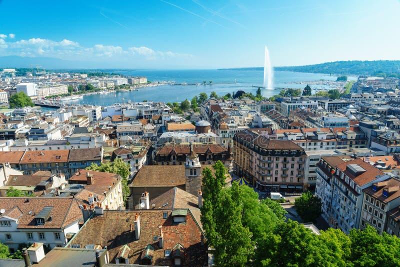 Antena de Genebra, Switzerland foto de stock royalty free