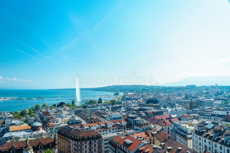 Antena de Genebra, Switzerland foto de stock