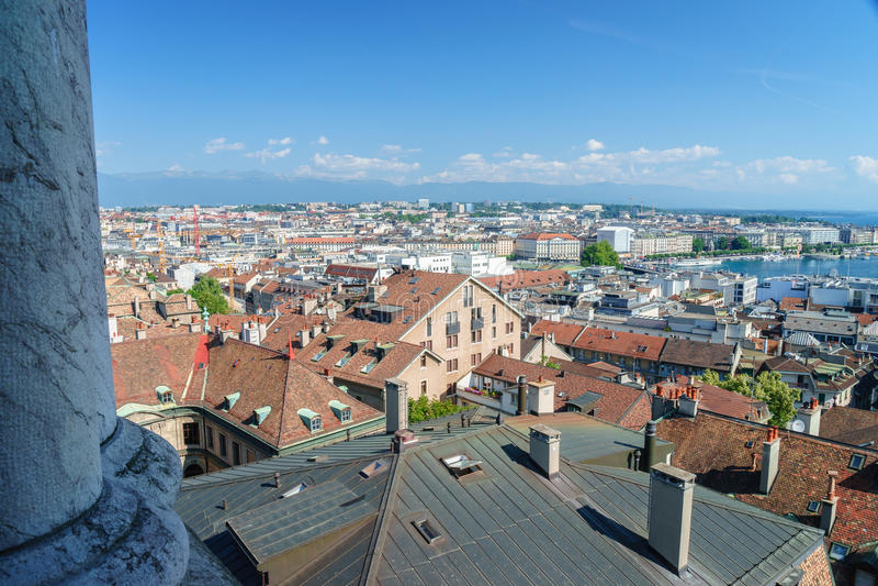 Antena de Genebra, Switzerland imagens de stock royalty free