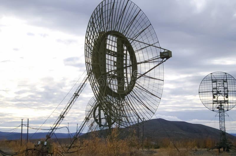 Antena de la comunicación por satélite del radar fotos de archivo libres de regalías