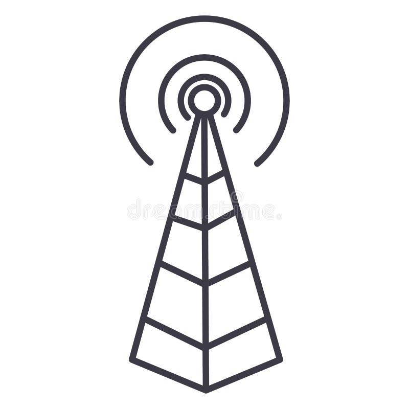 Antena de la frecuencia, línea icono, muestra, ejemplo del vector de la torre de radio en el fondo, movimientos editable ilustración del vector
