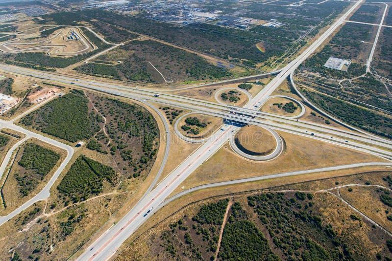Antena de la intersección de la autopista sin peaje en Suráfrica imágenes de archivo libres de regalías