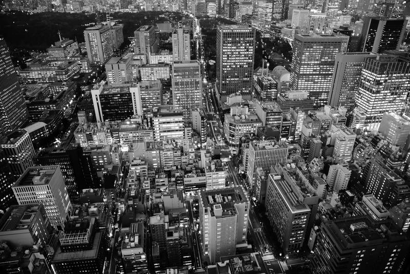 Antena de la noche en Tokio, Japón foto de archivo