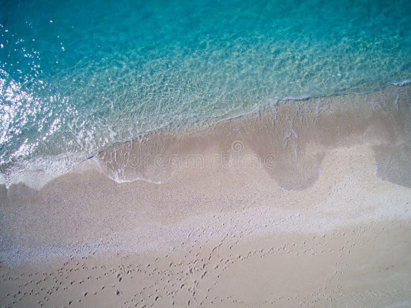 Antena de la playa de Kathisma en la isla Grecia de Lwfkada imagen de archivo