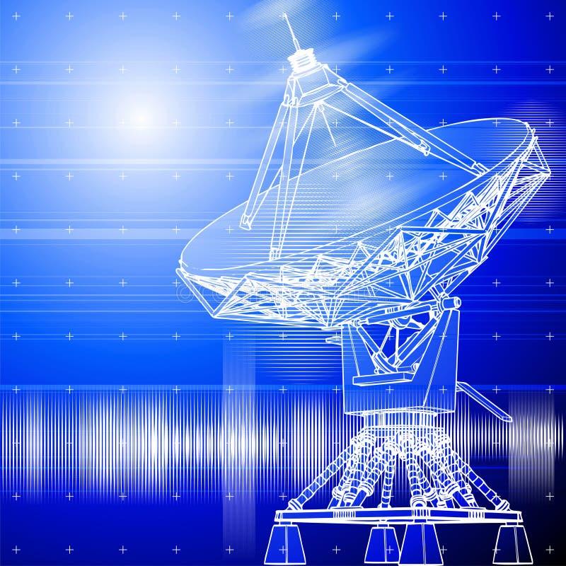Antena de los platos basados en los satélites ilustración del vector