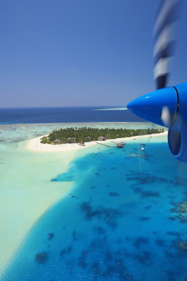 Antena de Maldives y del centro turístico foto de archivo