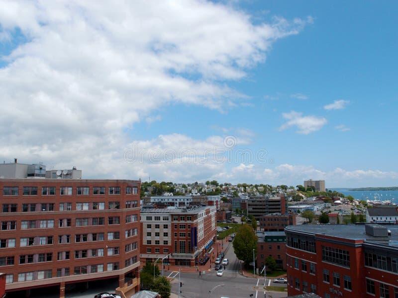 Antena de Portland Maine tomada de un top de edificio imagenes de archivo