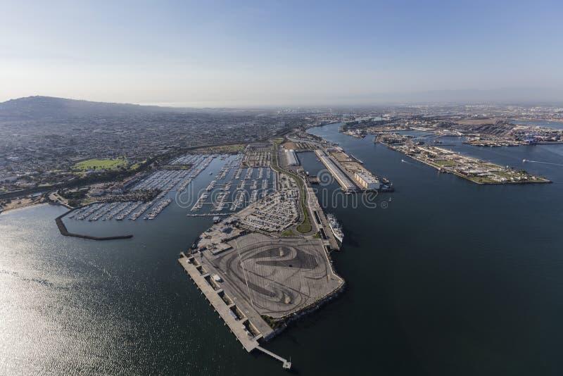 Antena de San Pedro Marina y puerto en Los Ángeles California imágenes de archivo libres de regalías