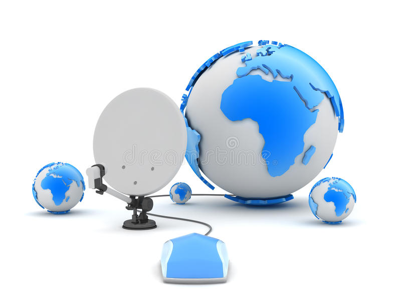Antena de satélite, ratón del ordenador y globo de la tierra stock de ilustración