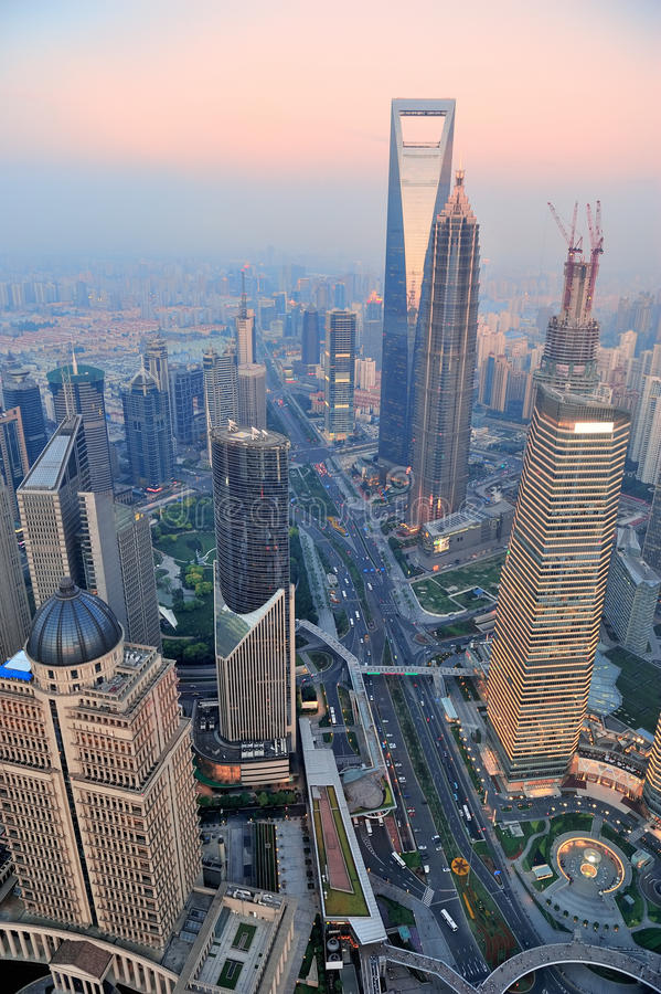 Antena de Shanghai no por do sol fotografia de stock royalty free