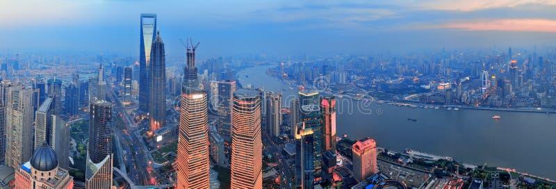 Antena de Shanghai no por do sol imagem de stock