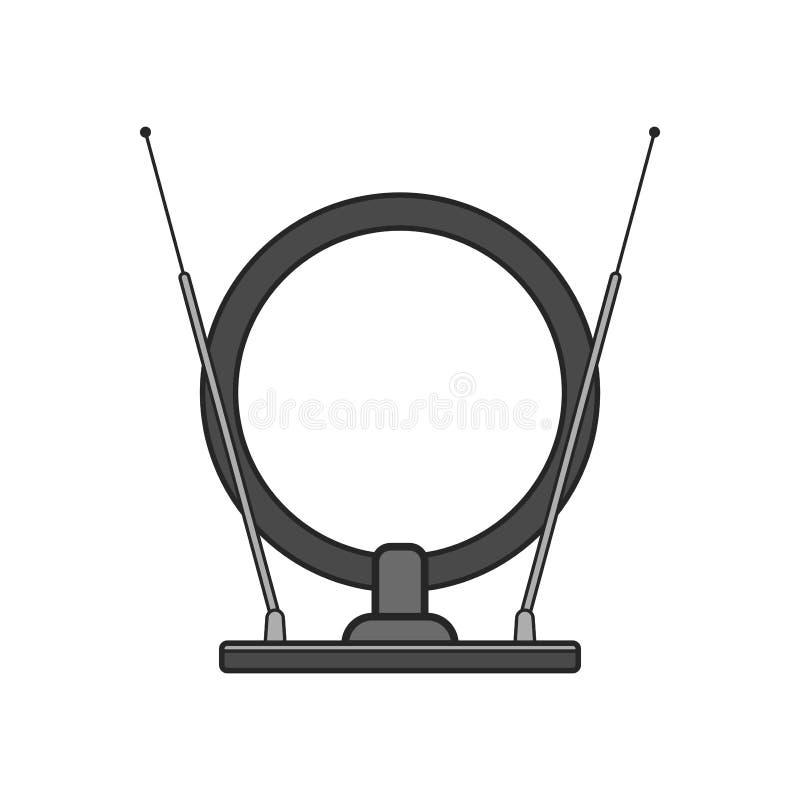 Antena de TV interior Icono plano de los aparatos electrodomésticos modernos aislados en el fondo blanco ilustración del vector