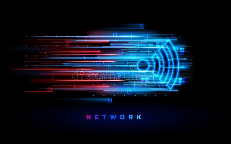 Antena de Wifi para o fundo da zona franca Símbolo de Wi-Fi ilustração stock