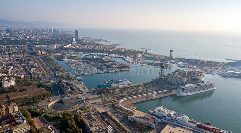 Antena del puerto de Barcelona imagen de archivo
