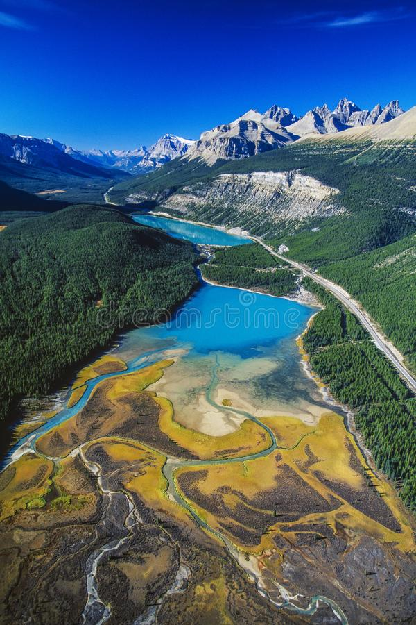 Antena del río de Saskatchewan, Alberta, Canadá imagen de archivo libre de regalías