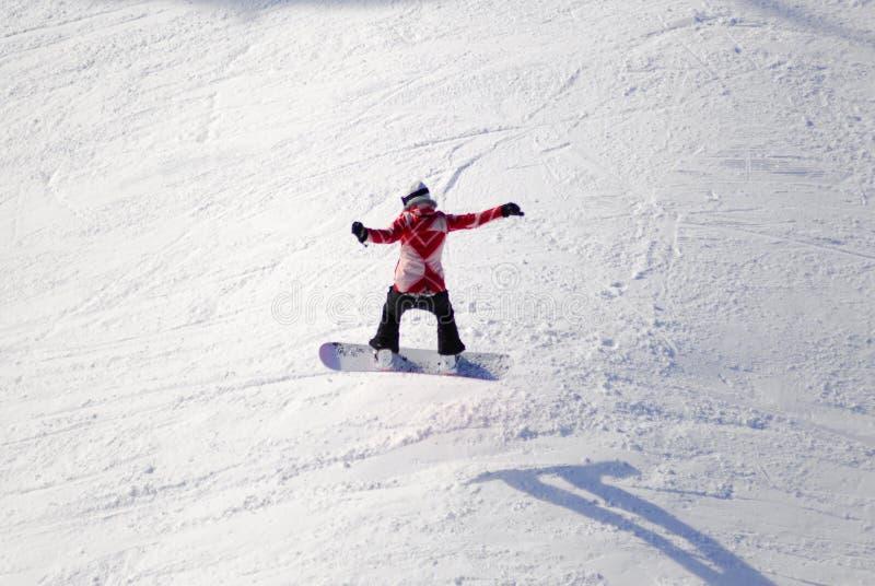 Antena del snowboarder en el Mt Washington, A.C., Canadá fotografía de archivo
