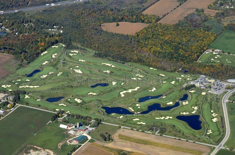 Antena do campo de golfe de Cambridge imagem de stock
