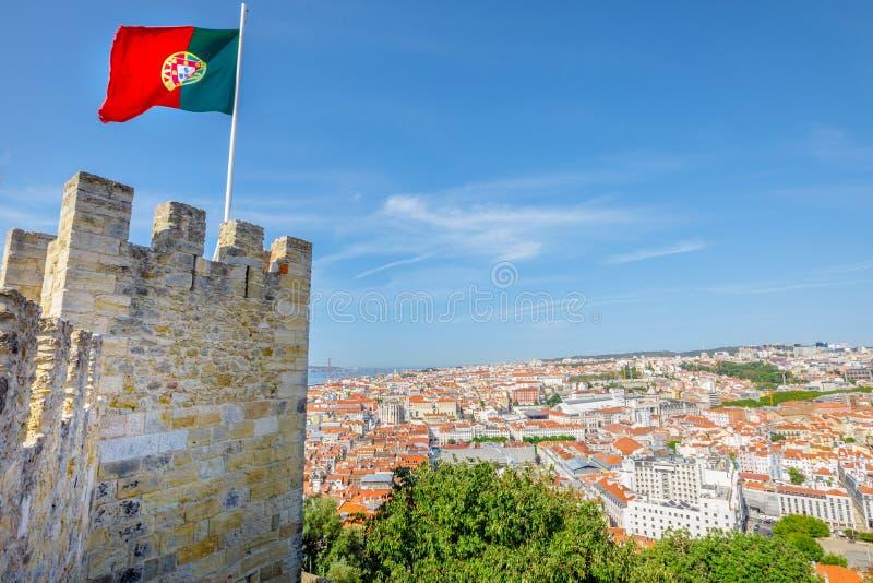 Antena do castelo de Lisboa imagens de stock