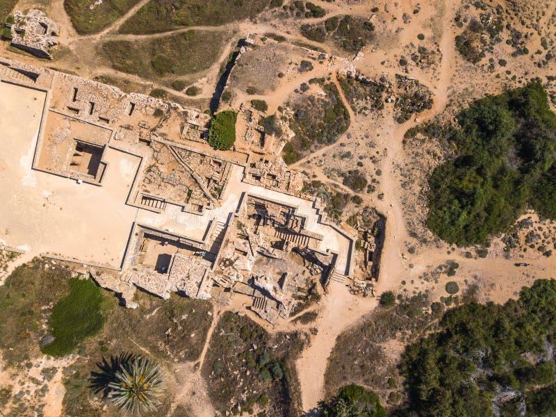 A antena do grego clássico arruina a área arqueológico da escavação fotos de stock royalty free
