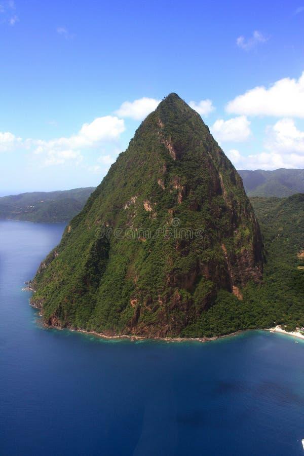 Antena do Piton de St Lucia pequeno foto de stock royalty free