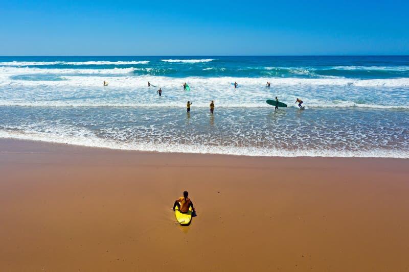 Antena dos surfistas que obtêm lições surfando no oceano fotos de stock royalty free