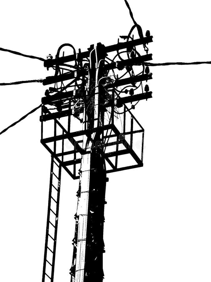 Antena eléctrica en poste blanco y negro, ligero fotografía de archivo libre de regalías