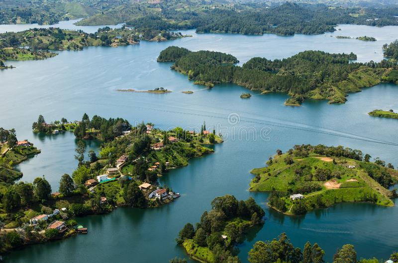 Antena Guatape, Kolumbia jeziora obrazy royalty free