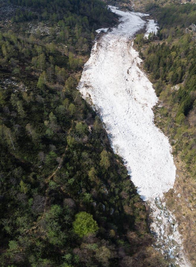Antena: la avalancha enorme de la nieve caida en primavera en valle alpino covedered por el arbolado del bosque, visión desde arr imagen de archivo