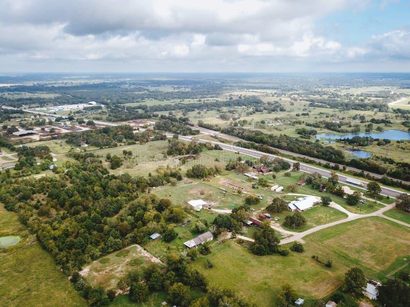 Antena Mały Wiejski miasteczko Sommerville, Teksas Następnie w zakładzie fotografia royalty free
