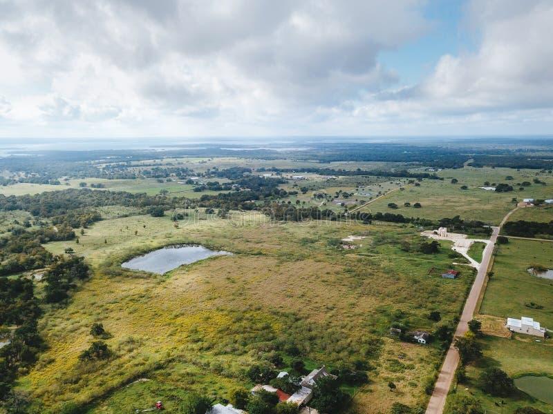 Antena Mały Wiejski miasteczko Sommerville, Teksas Następnie w zakładzie obrazy stock