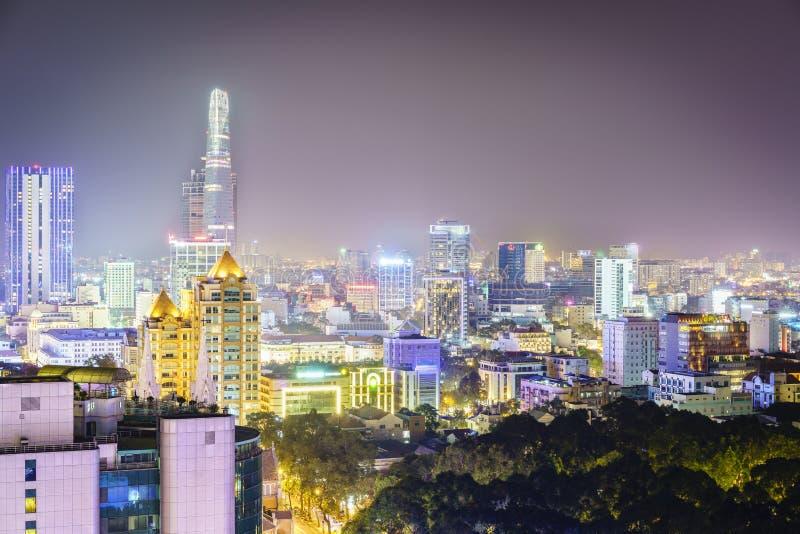 Antena na noite, Vietname de Saigon foto de stock