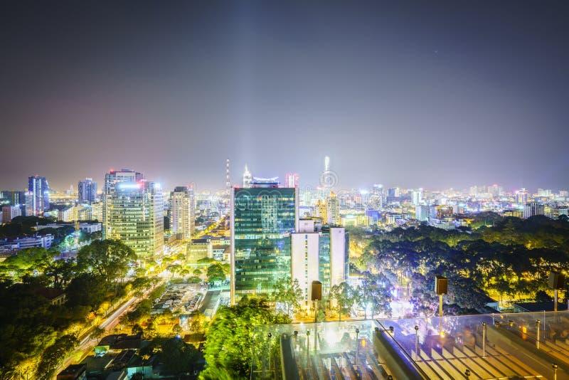 Antena na noite, Vietname de Saigon fotografia de stock