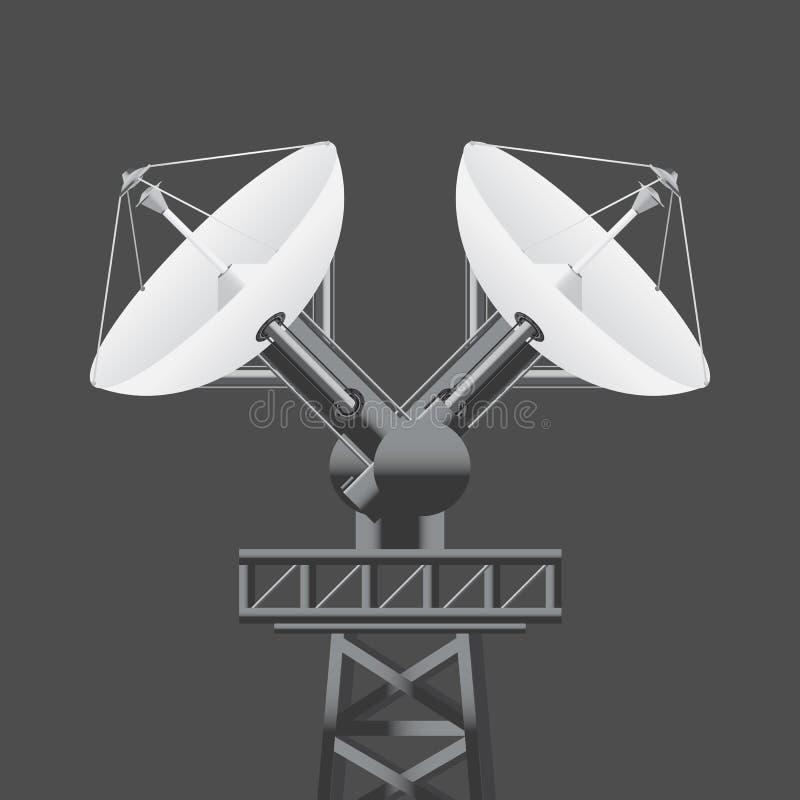 A antena parabólica 3d realística isolou-se Ilustra??o do vetor ilustração do vetor